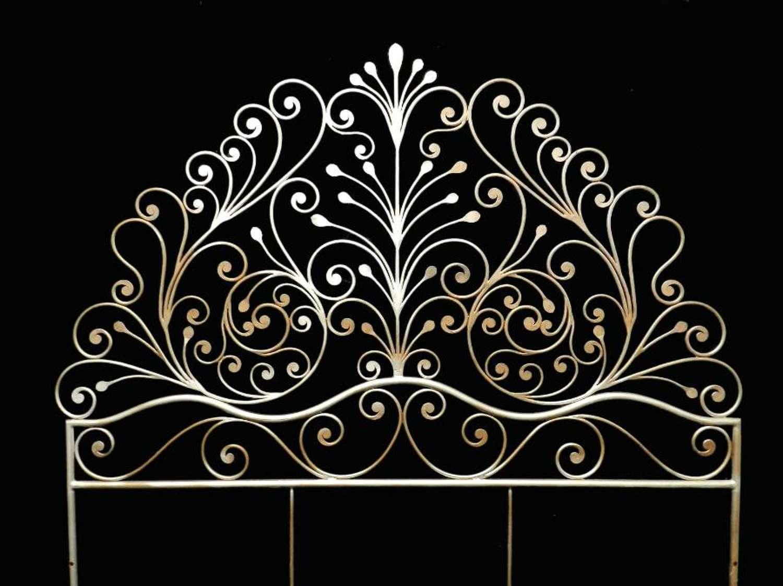 Mid-Century Bed Headboard Artisan Made Iron