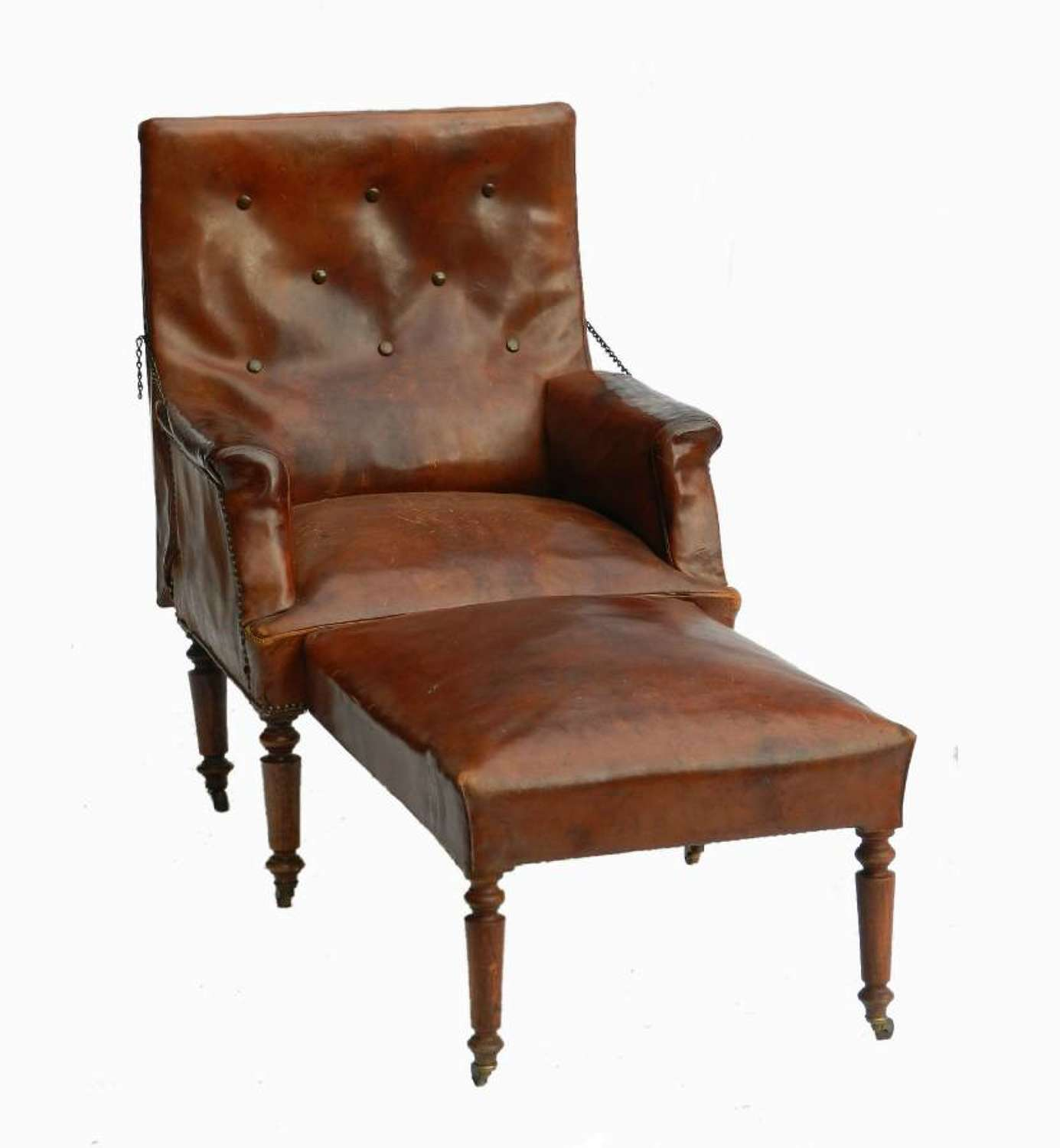 French Leather Club Chair Reclining Armchair