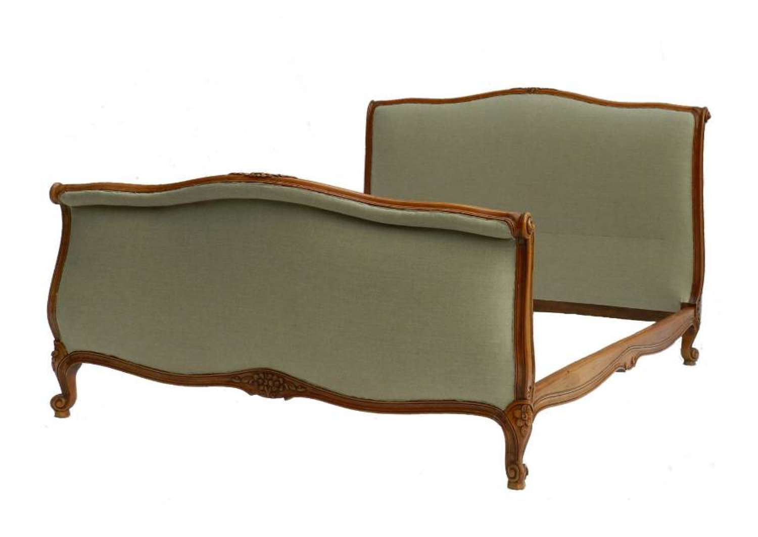 Scroll End French Bed + Base recovered in Linen Double or King size