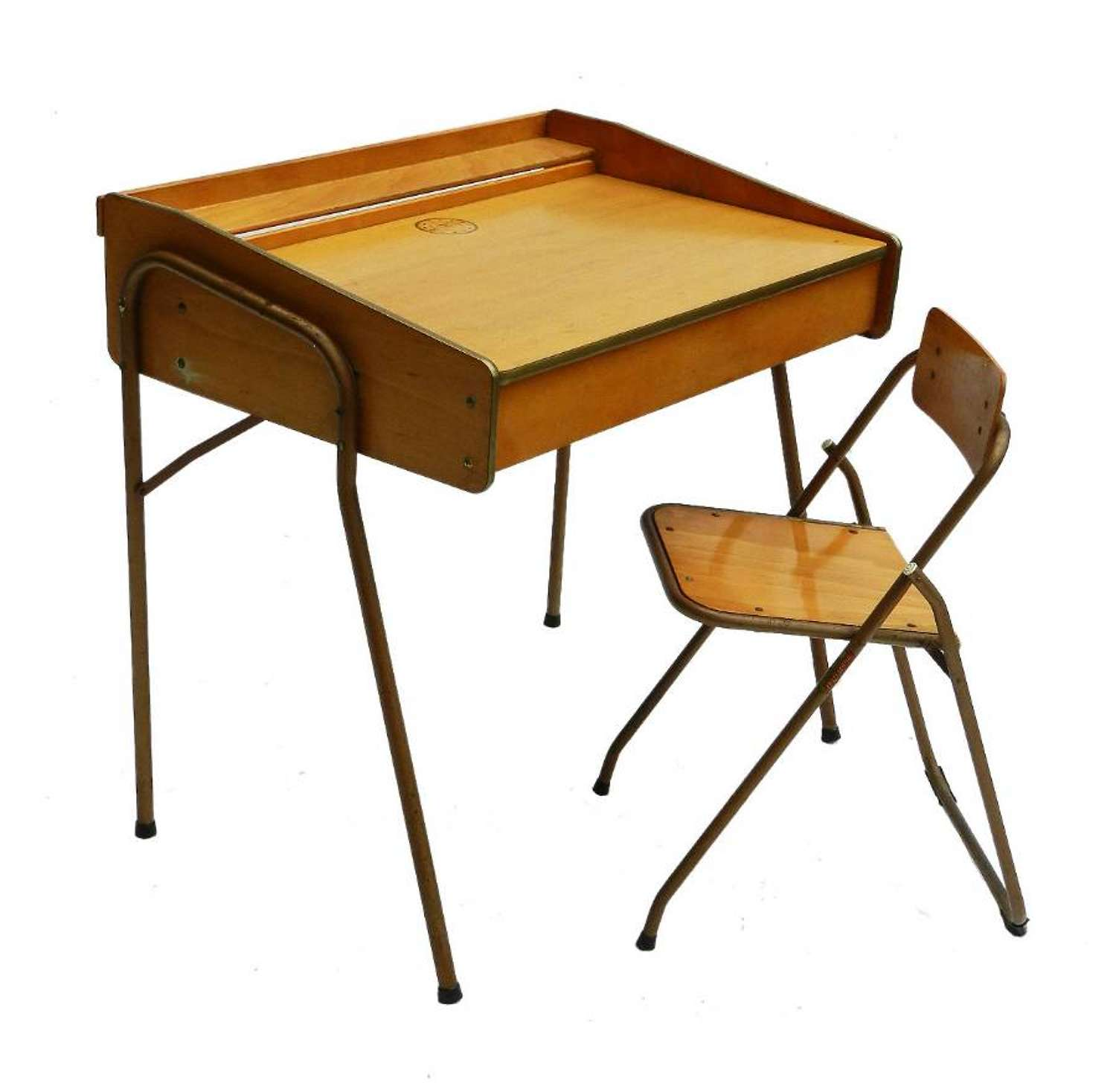 French Mid Century Childs Desk & Chair by Brevete Lallemand