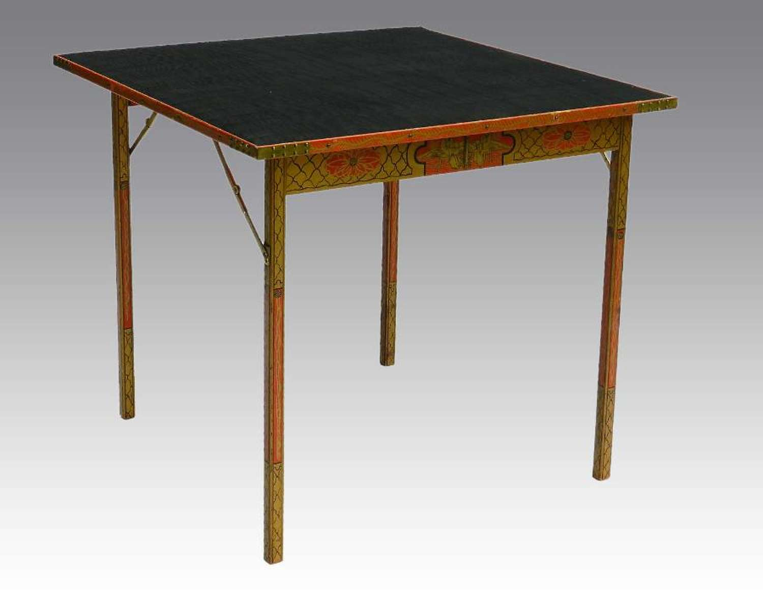 Chinoiserie Folding Card Table painted Games by George Vernon Newport Rhode Island USA