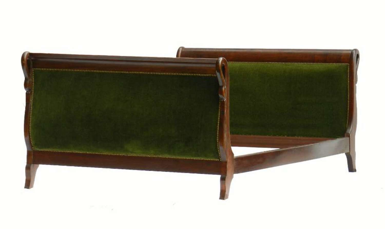 French Bed or Daybed + Base Empire rev Upholstered Swans Neck Mahogany
