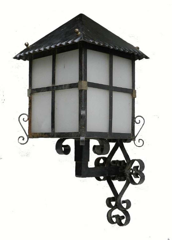 French Lantern Exterior Porch Wall Light Iron & Glass