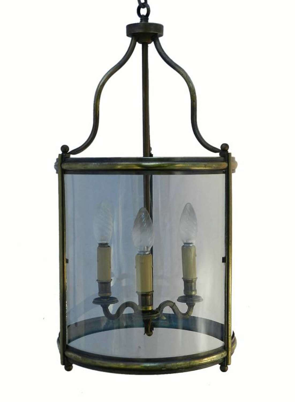 Large French Lantern Glass & Brass