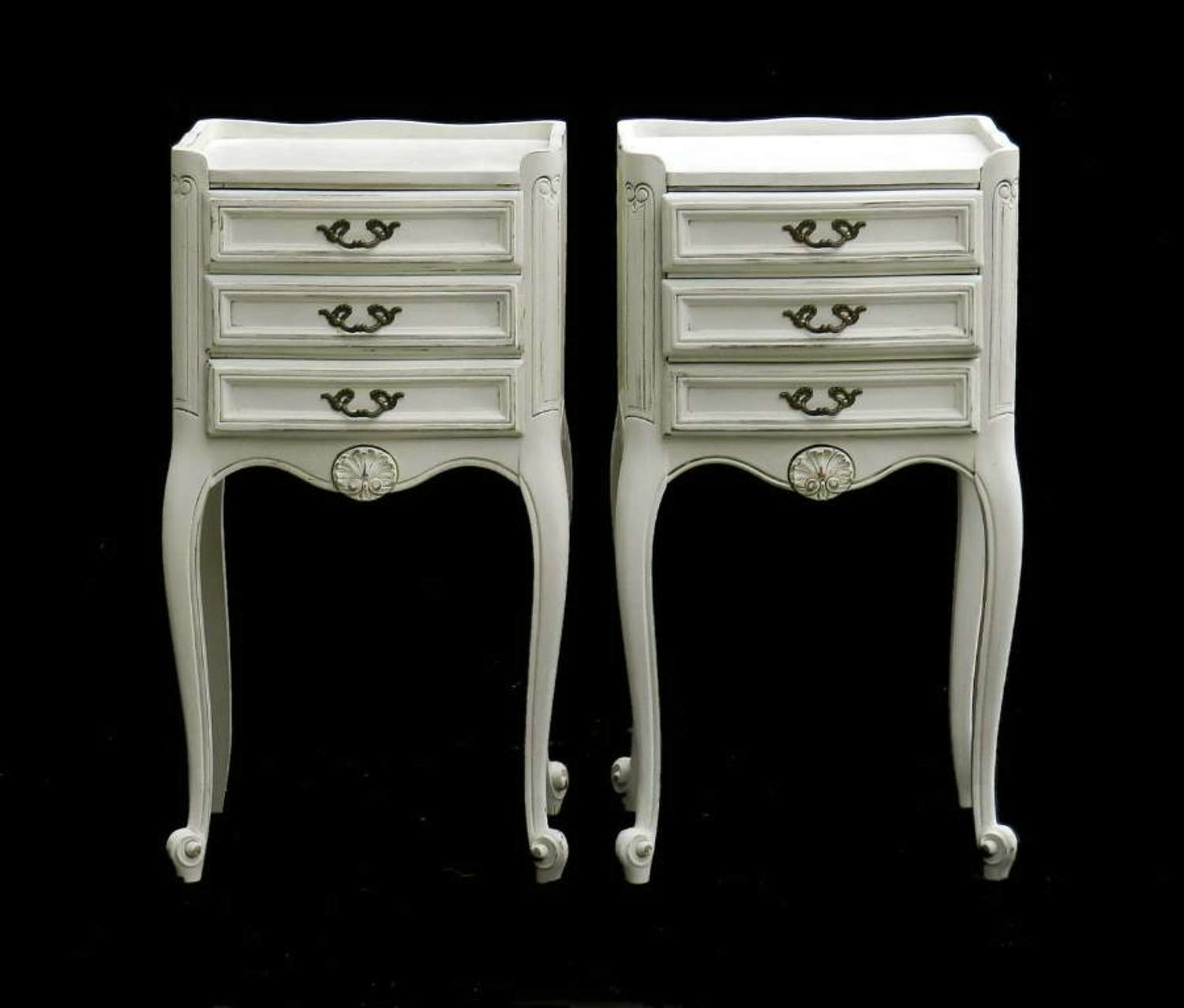 French Pair Side Cabinets Nightstands Bedside Tables Vintage Painted Louis