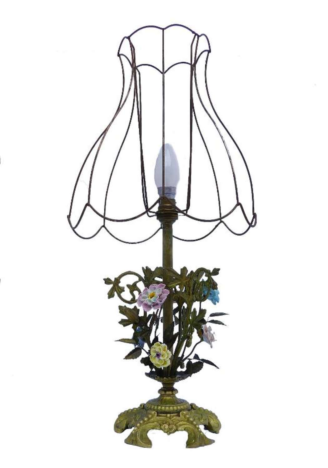 French Table Lamp Floral Porcelain & Brass