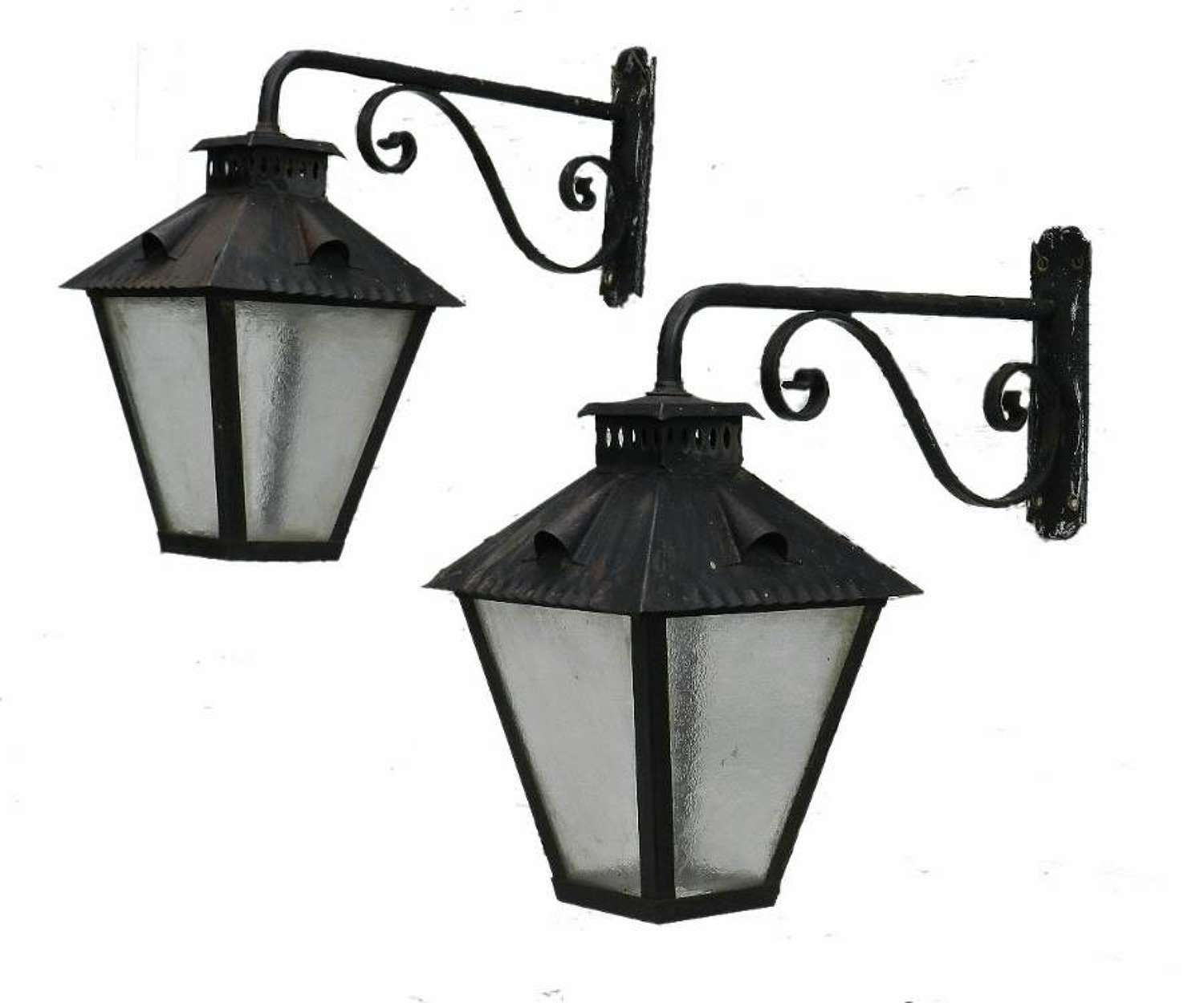Large Pair of Exterior Wall Lights Wrought Iron & Glass Lanterns