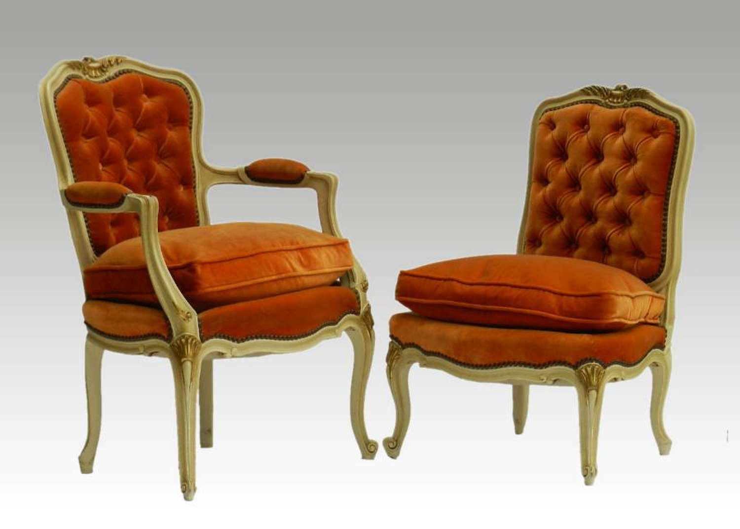 2 French Chairs Armchair & Boudoir Tufted early C20 Louis