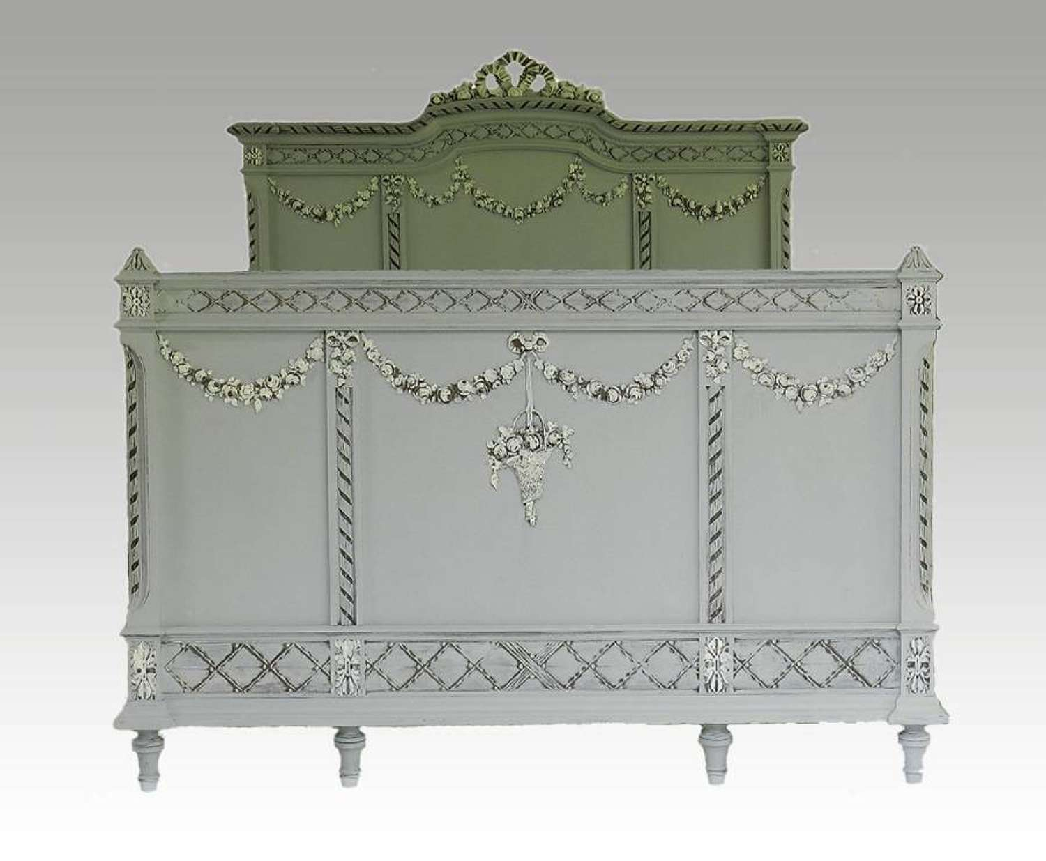 C19 French Double Bed + Base painted Oak ready to go