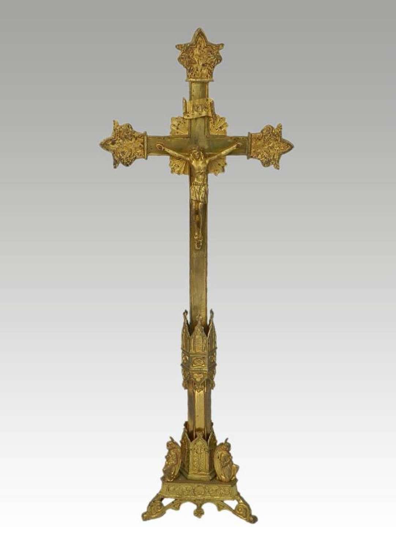 C19 French Crucifix Gothic revival Ormolu Bronze Church Cross
