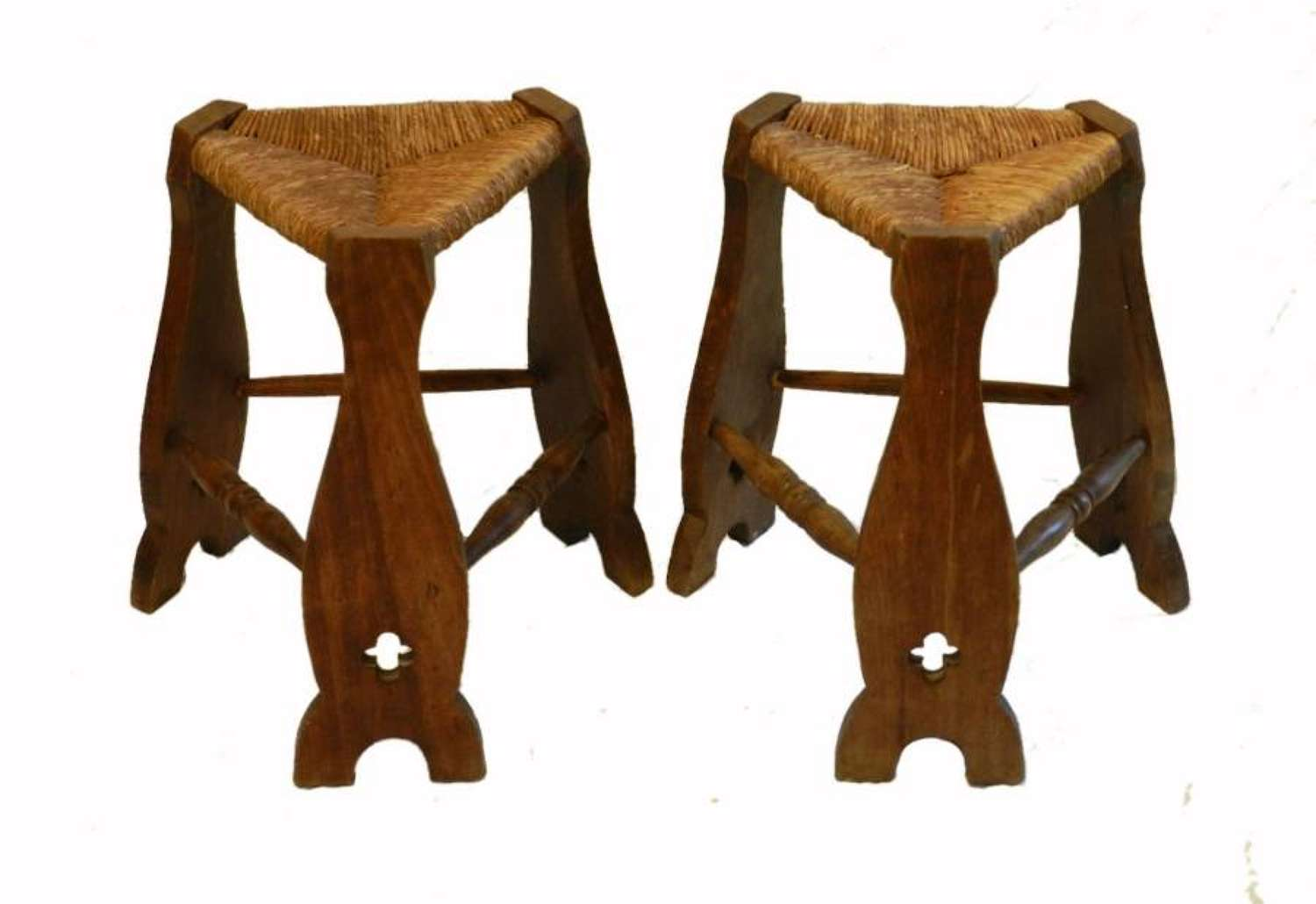 Pair Arts & Crafts Stools Rush Seat Country House Gothic revival