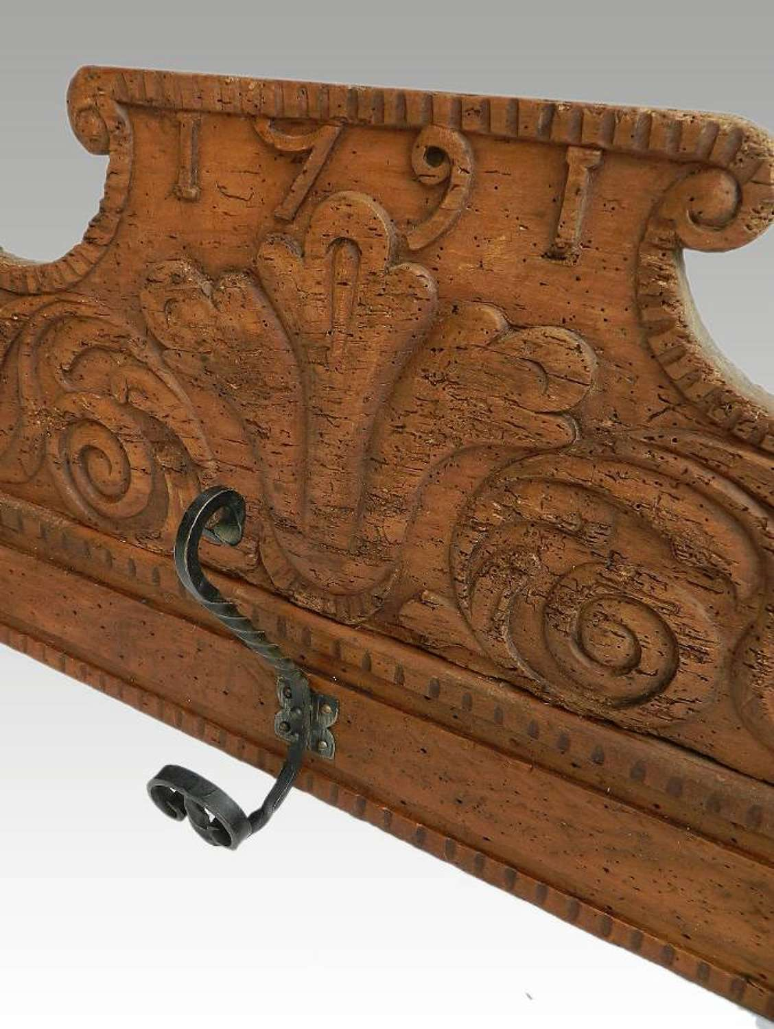French Coat & Hat Rack Country House Antique Pediment later Hooks