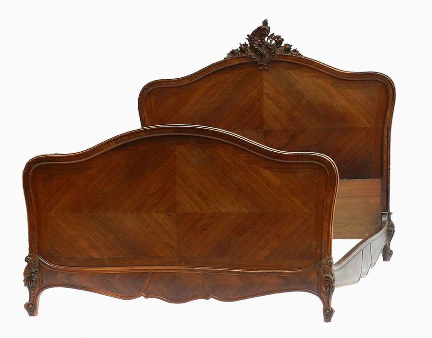 C19 Rococo French Bed + Base UK King size US Queen