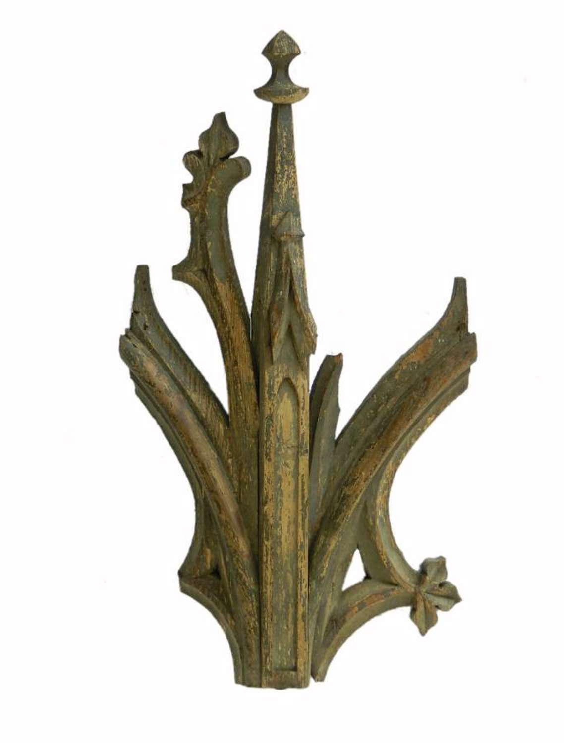 C19 Gothic Wall Light French Chapel Architectural Element Carved Wood