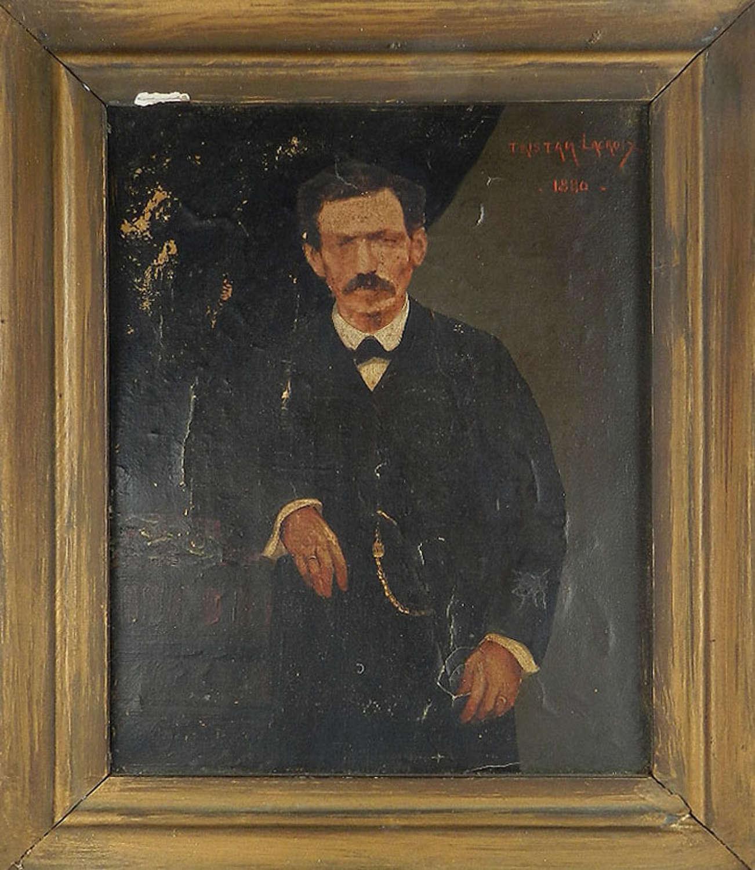 C19 Oil on Canvas Portrait of Tristan Lacroix by Simon Jacobs