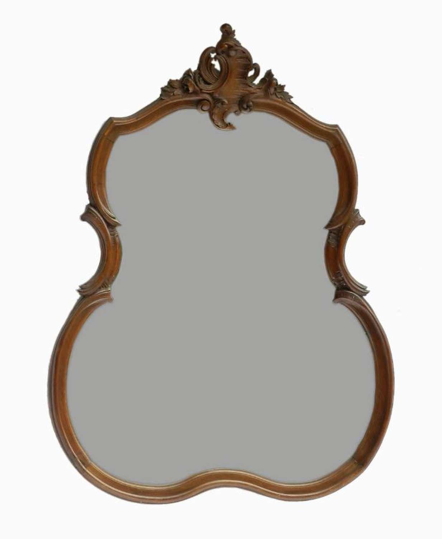 C19 Rococo French Mirror Louis Carved Walnut
