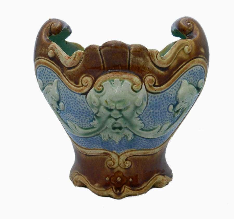French Majolica Vase Bowl Barbotine Pot c1910