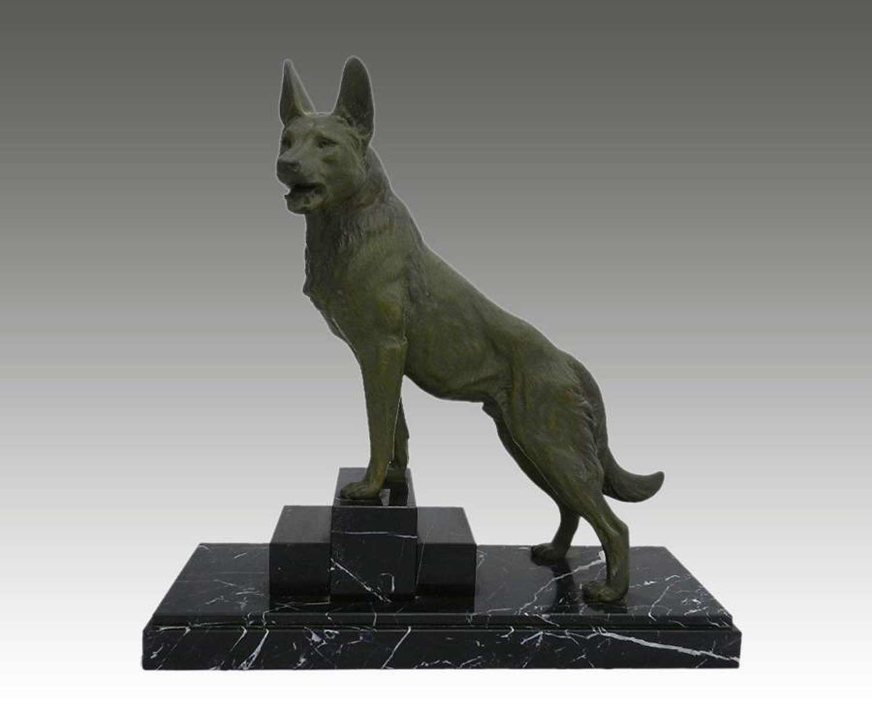 Art Deco Dog Statue signed L Carvin