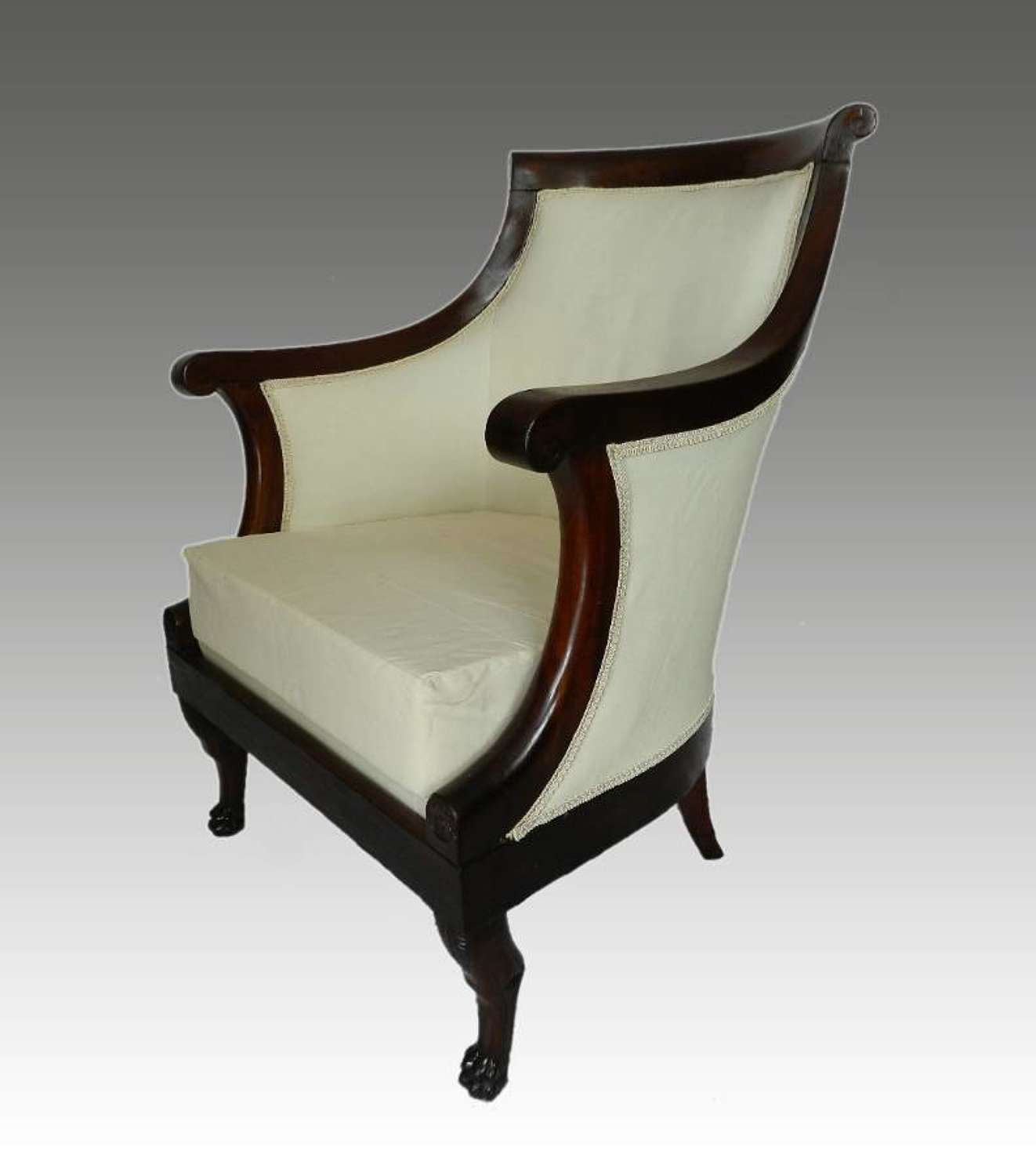 French 1st Empire Armchair Fauteuil Lion Paw Feet reupholstered to Calico ready top covers
