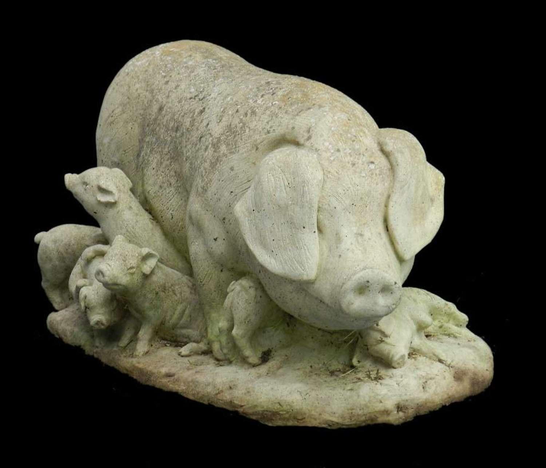 Pig & Piglets Vintage Garden Statue composite