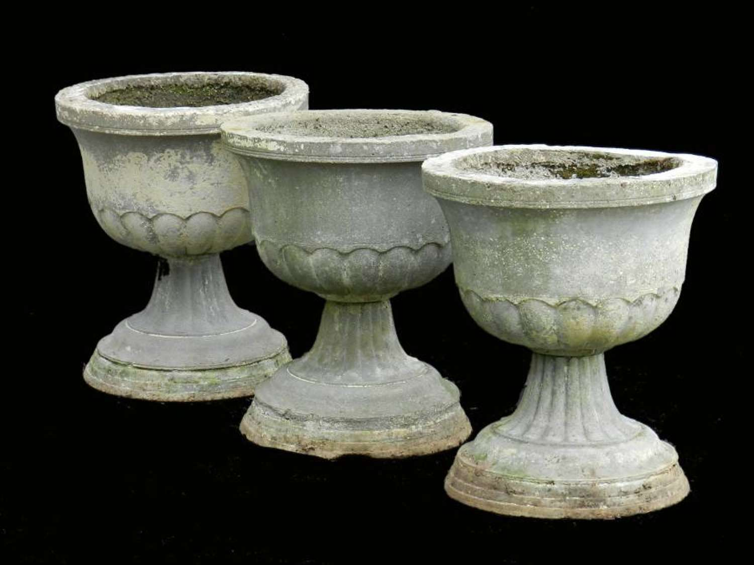 3 Garden Urns Composite Planters early C20