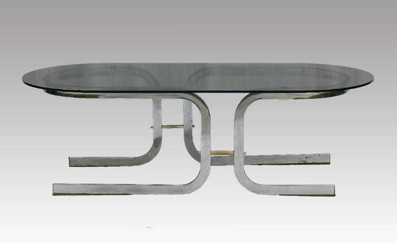 Coffee Table Chrome & Glass Mid Century
