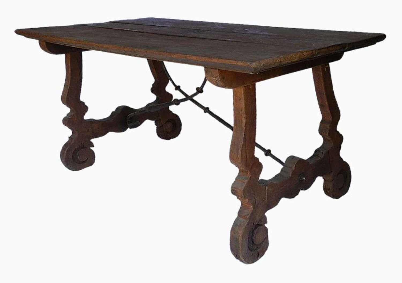 C18 Spanish Dining Table Farmhouse Kitchen Chestnut Plank Top