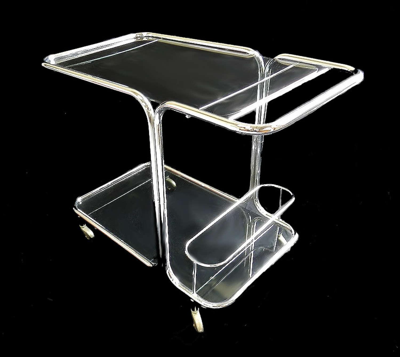 Drinks Trolley Bar Cart Chrome & Glass Mid Century