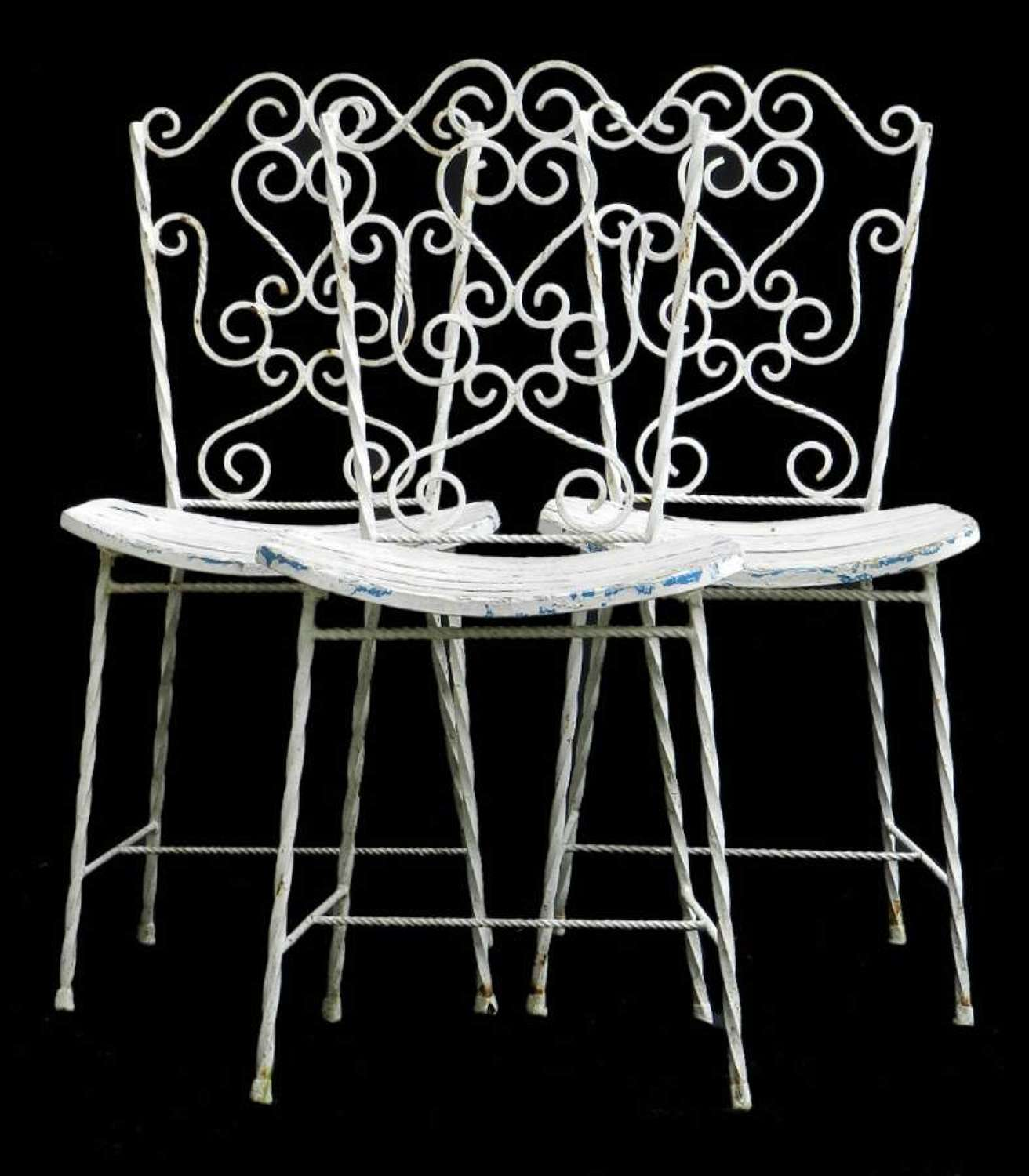 3 French Garden Chairs Iron early C20