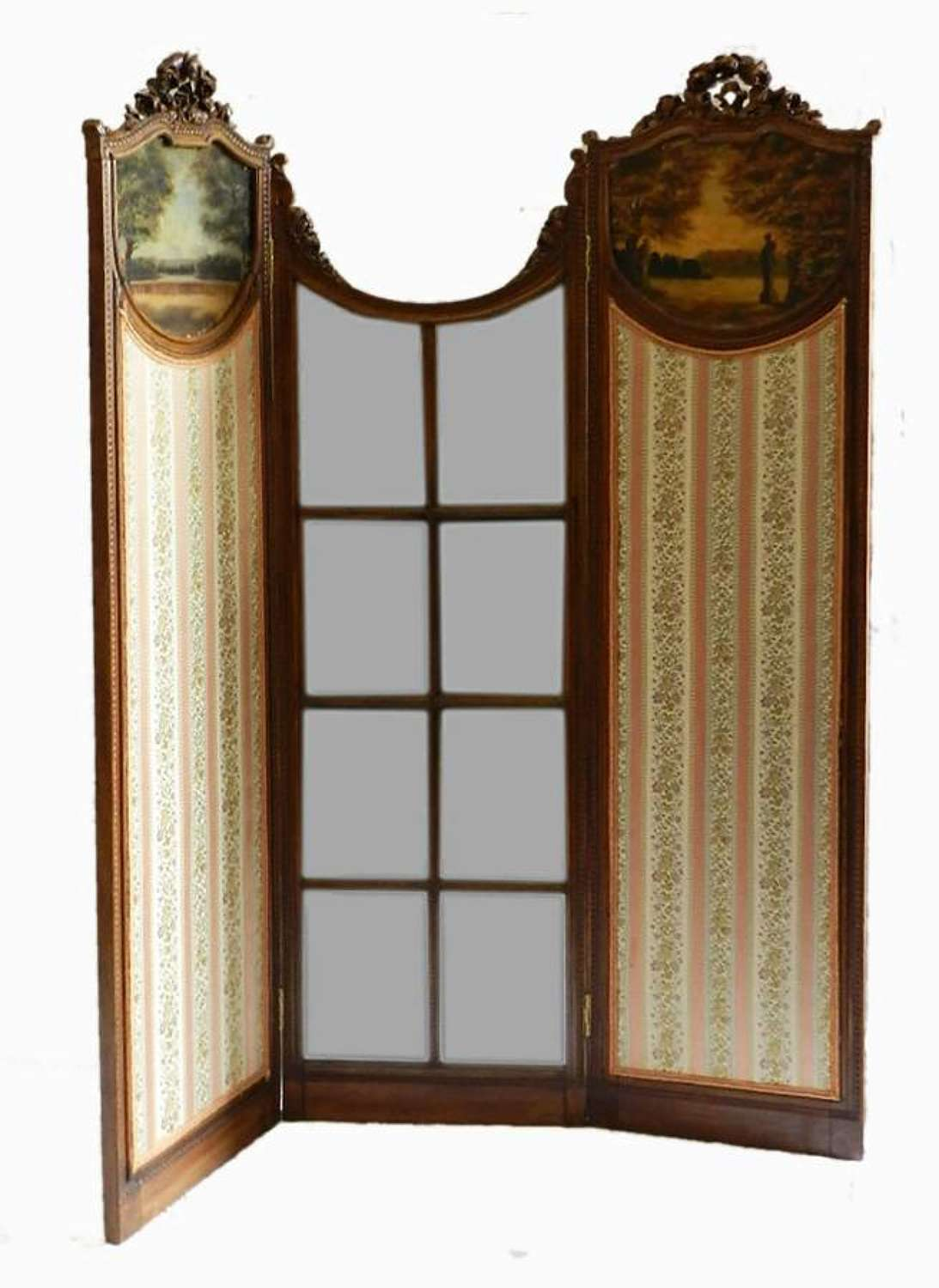 C19 French Screen 3 fold with Mirror & Paintings Dressing Draught Room Divider