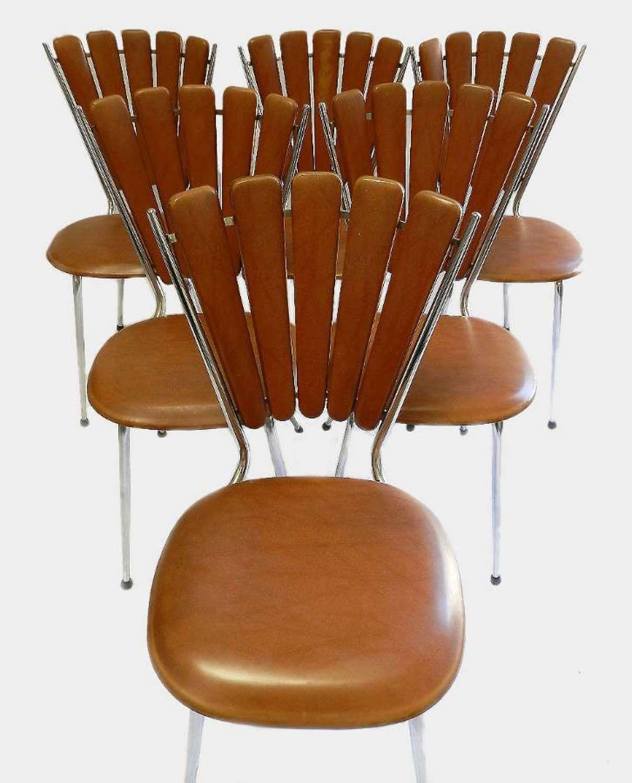 6 Mid Century Kitchen Chairs