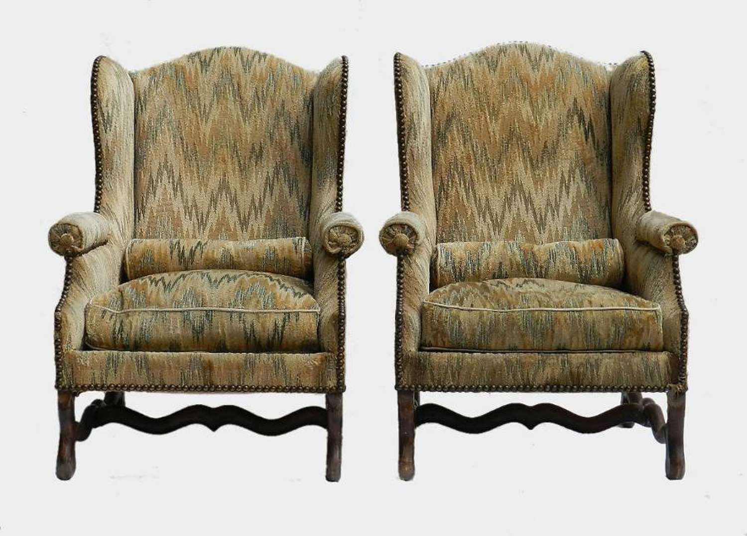 Pair French Wing Chairs Os de Mouton Armchairs
