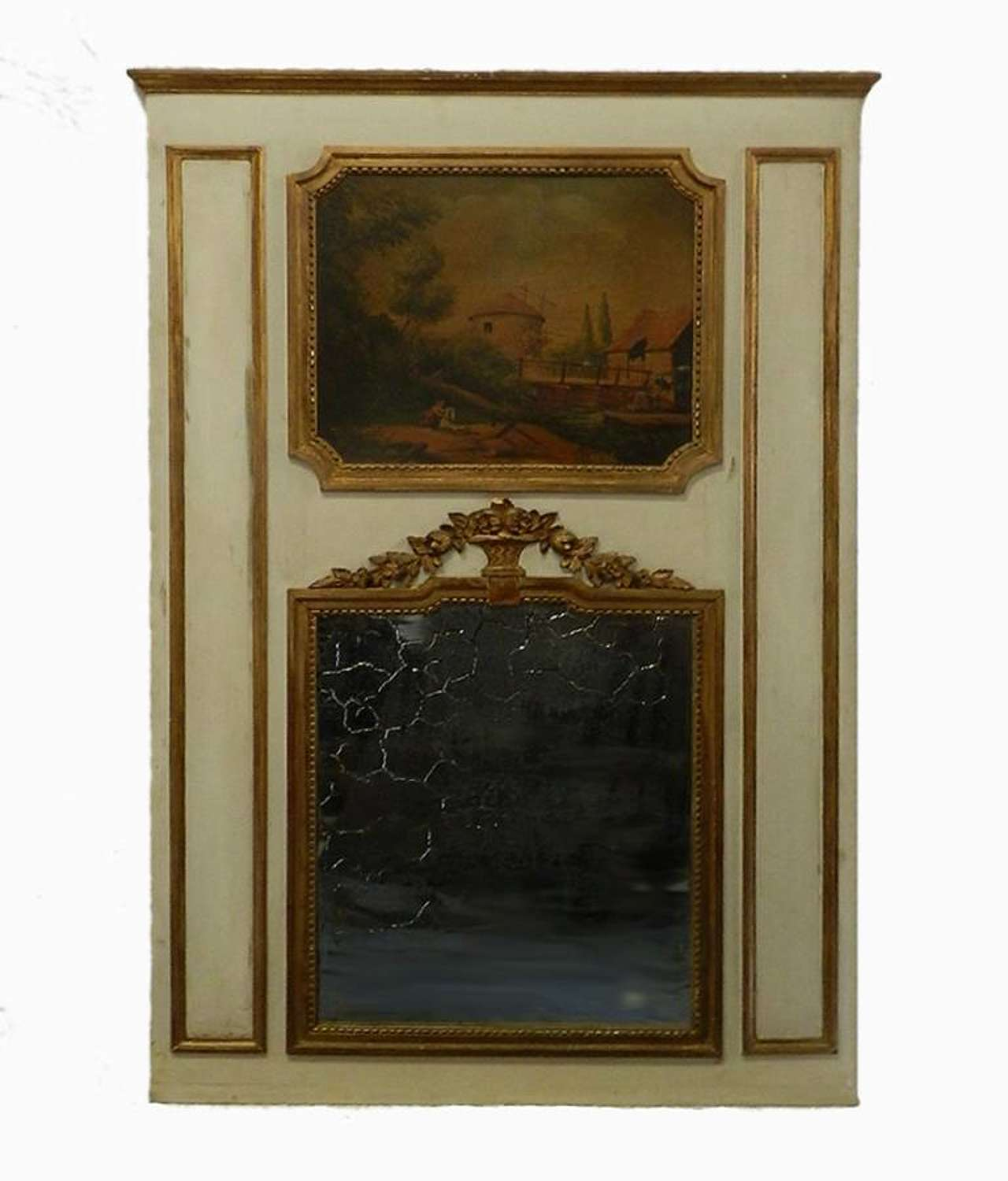 19th Century French Trumeau Mirror & Painting Giltwood overmantle overmantel