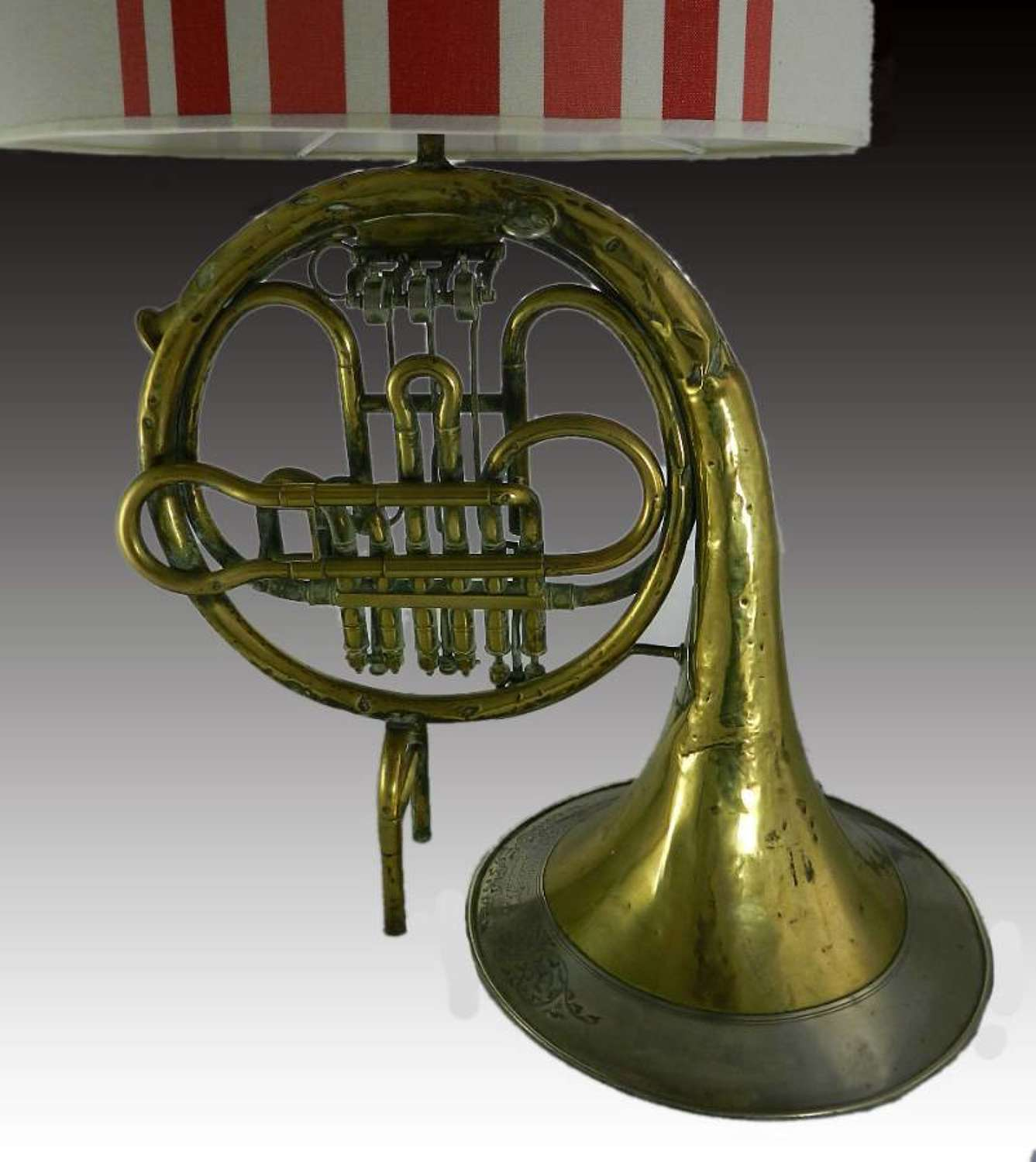 C19 Brass French Horn Table Lamp