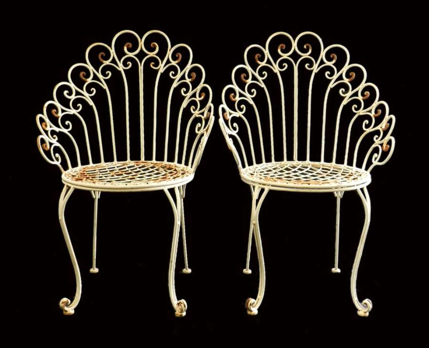 Pair French Garden Chairs Iron early C20