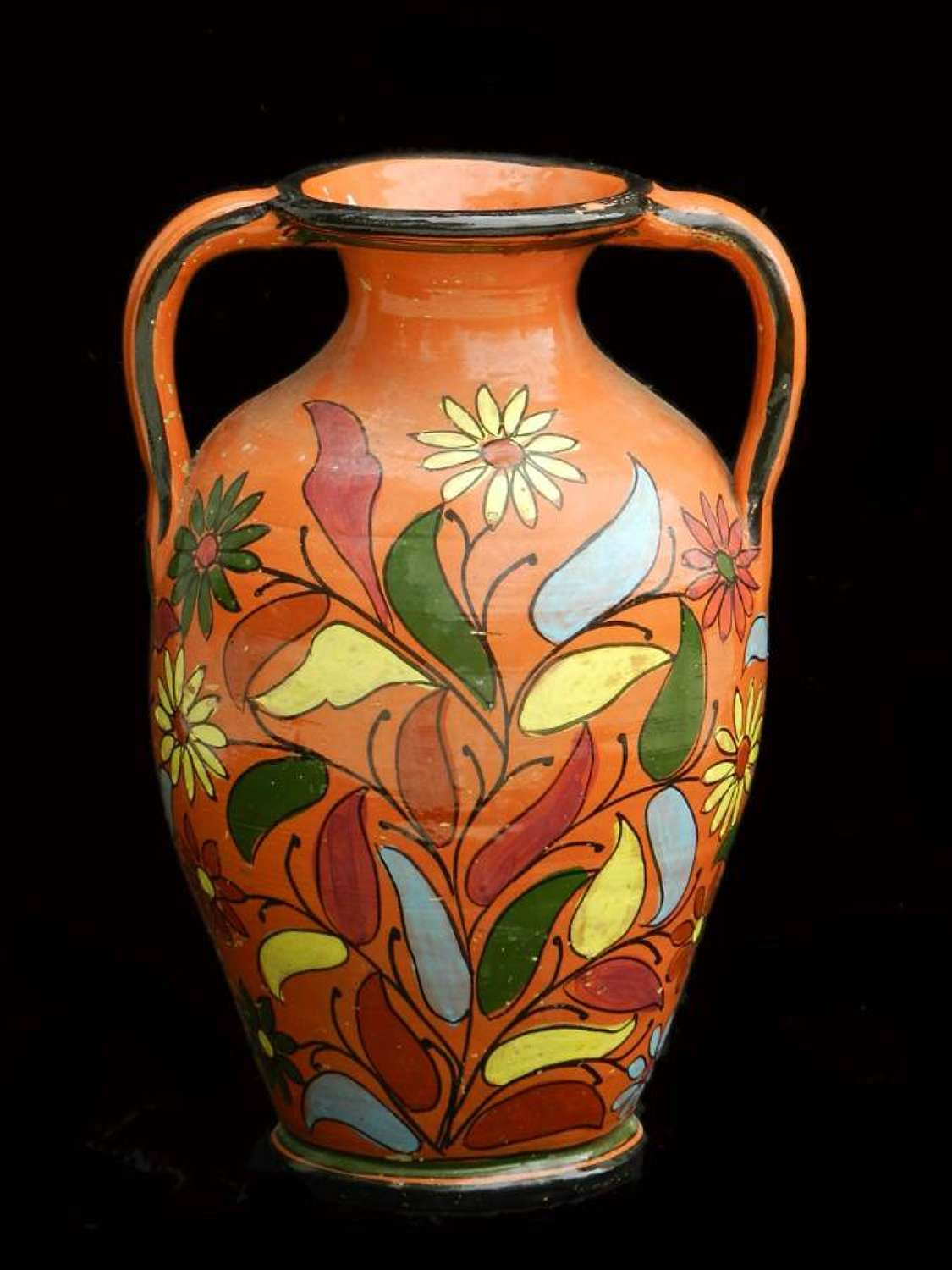 French Terracotta Pot Mid Century Floral Hand Painted Vase