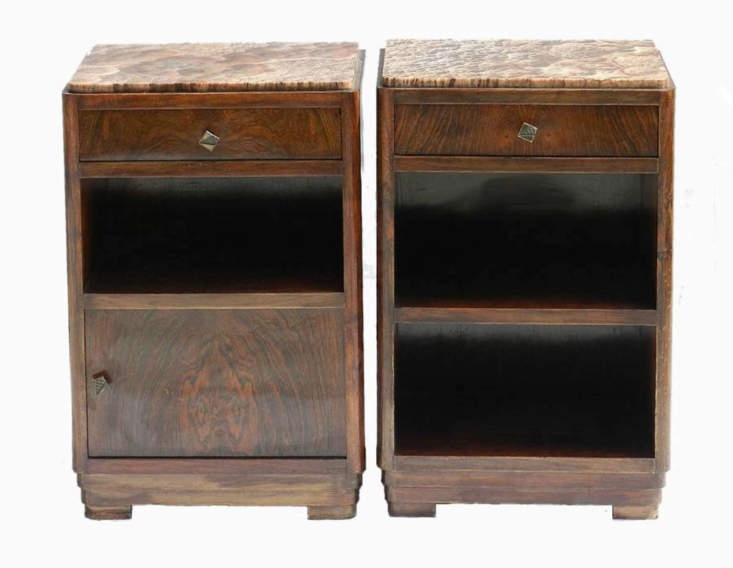Pair Art Deco Side Cabinets Nightstand Bedside Tables Walnut