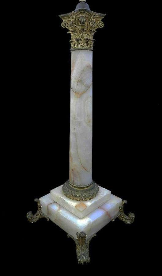 C19 French Table Lamp Column Marble & Ormolu