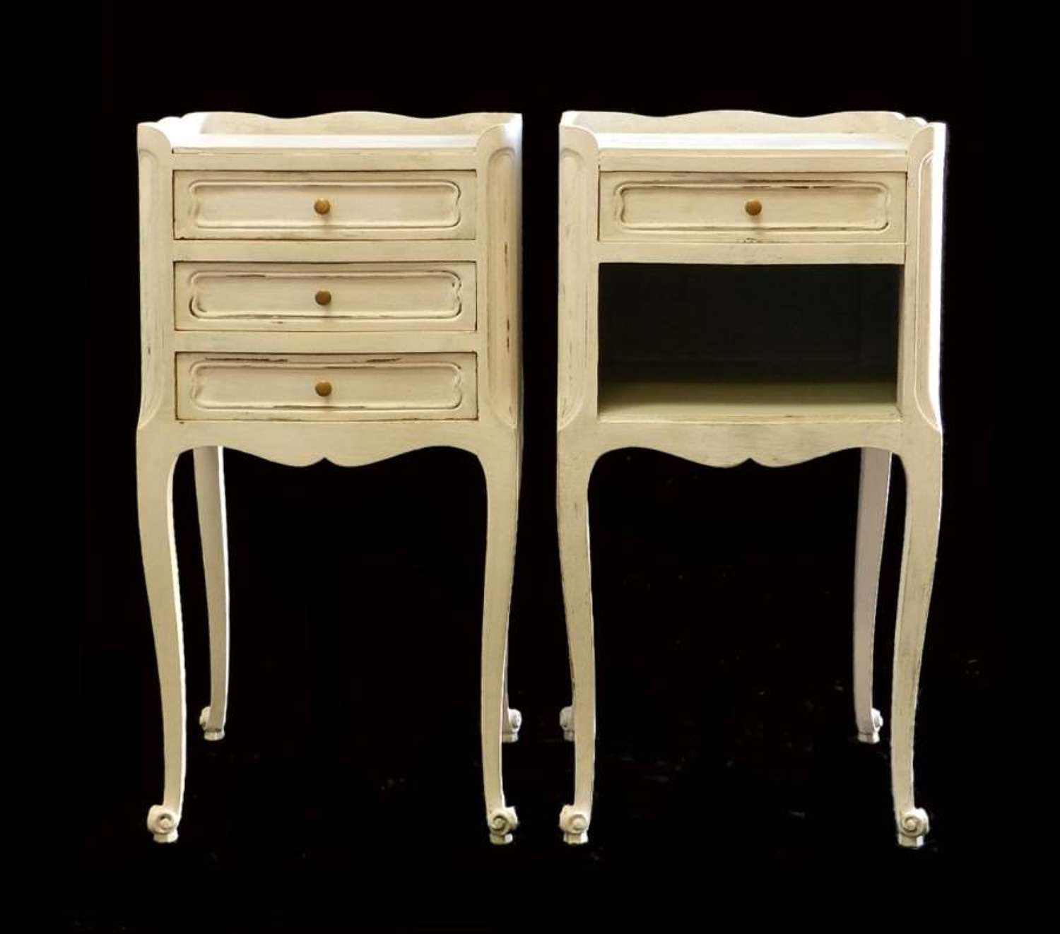Pair French Side Cabinets Bedside Tables Nightstands vintage Painted Louis
