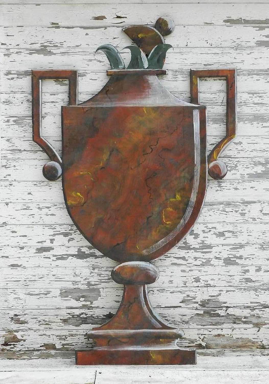 Trompe l'Oeil Painted Wood Panel Vase by Loic Garnier