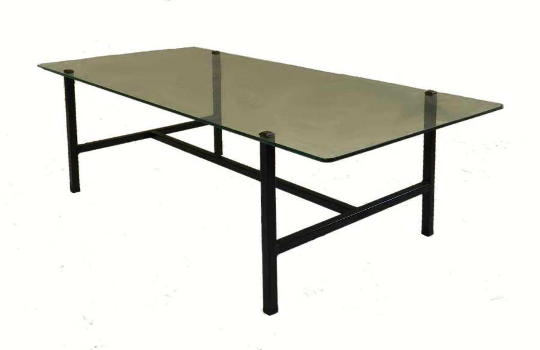 Metal & Glass Coffee Table Mid Century