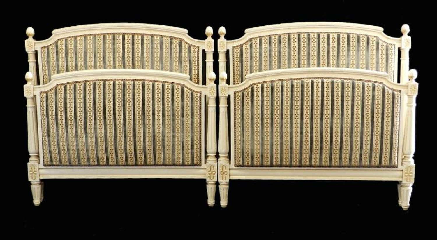 Pair French Twin Beds Upholstered original paint