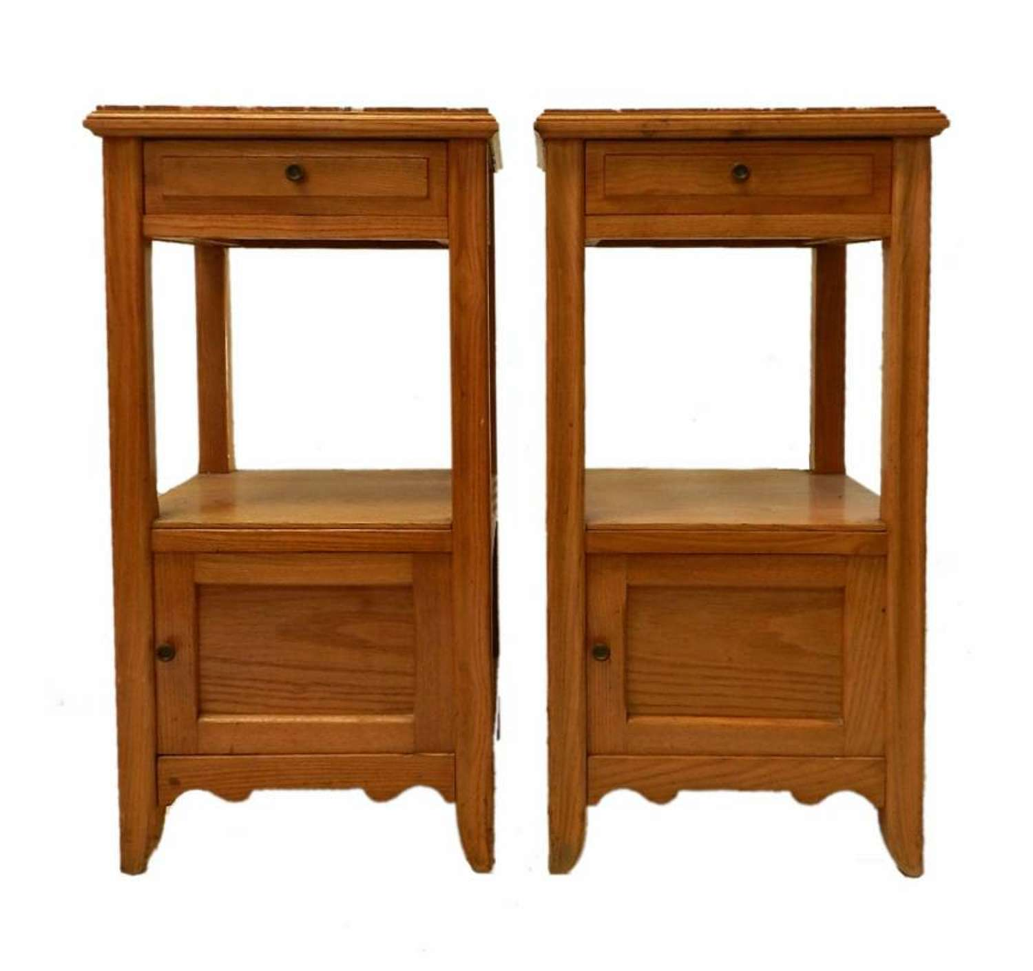 Pair Arts & Crafts Side Cabinets Nightstand Bedside Tables