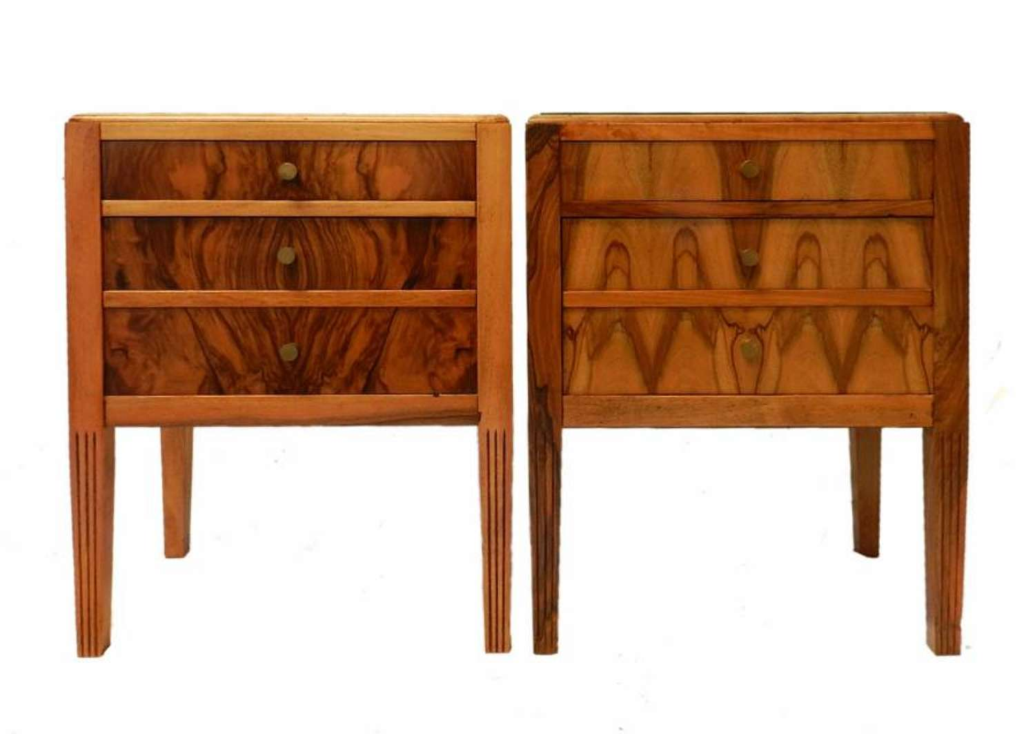 Unusual Pair Art Deco Side Cabinets Nightstand Bedside Tables