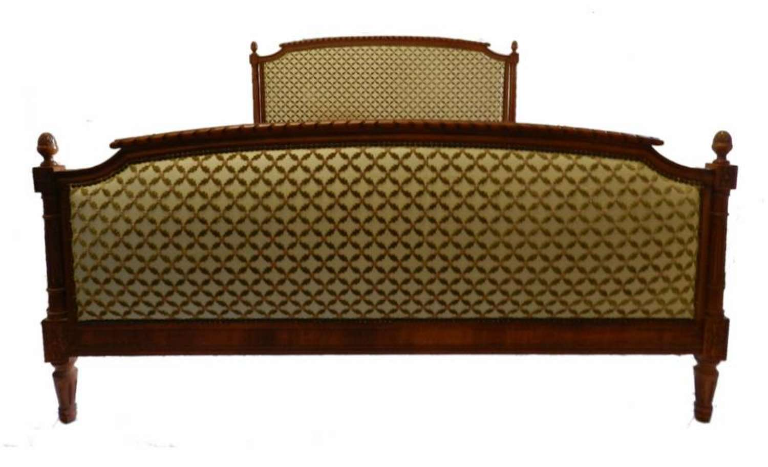 French Bed + Base upholstered Louis XVI revival UK King size US Queen