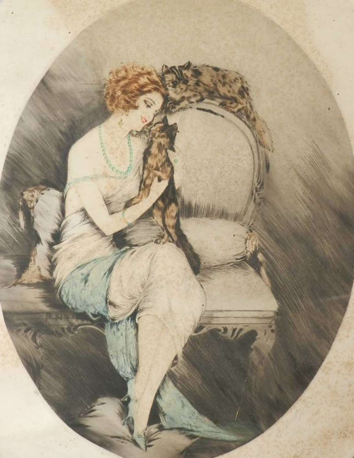 Signed French Etching Elegant Woman with Cats c1920 Art Deco