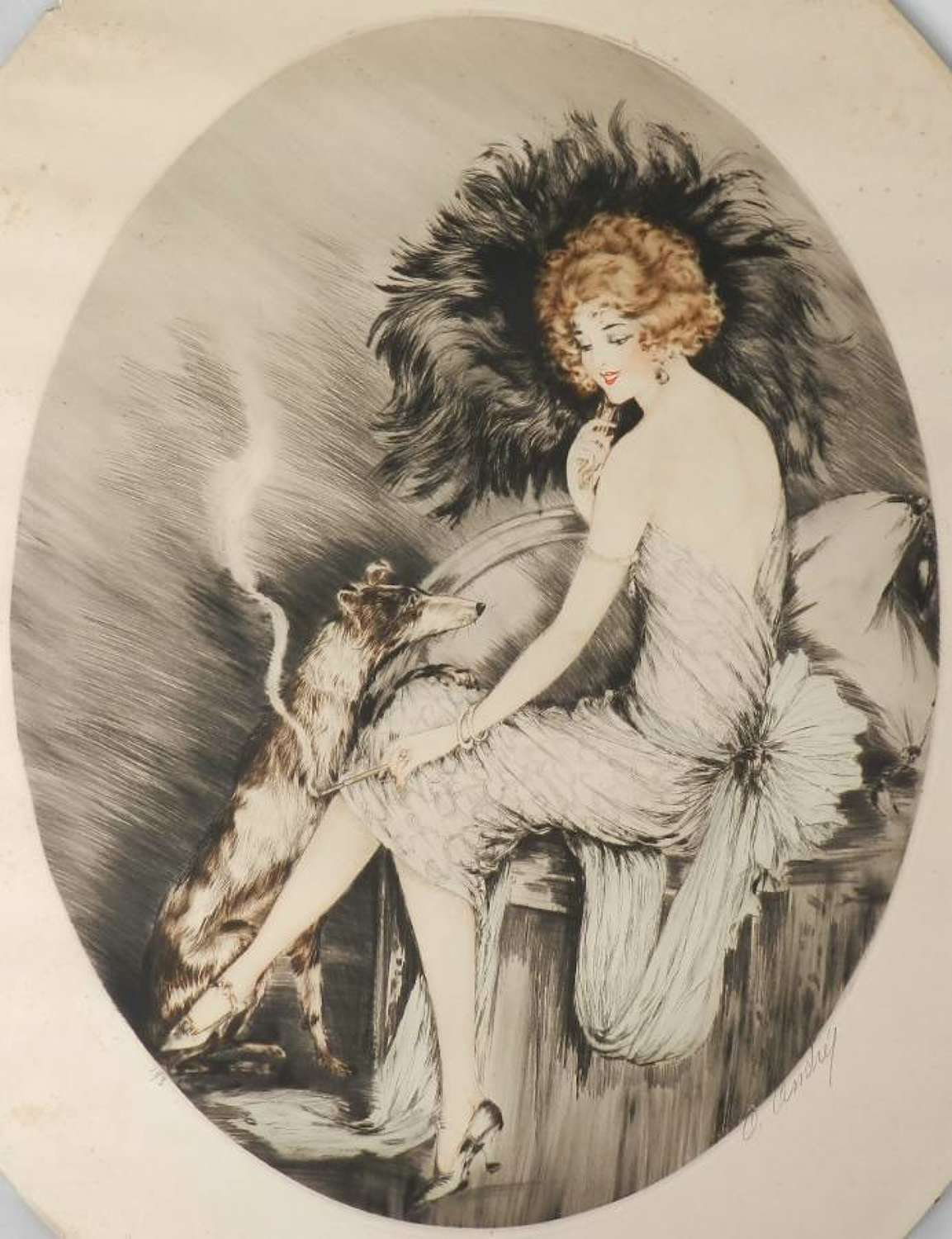 Signed French Etching Elegant Woman with Dog c1920 Art Deco