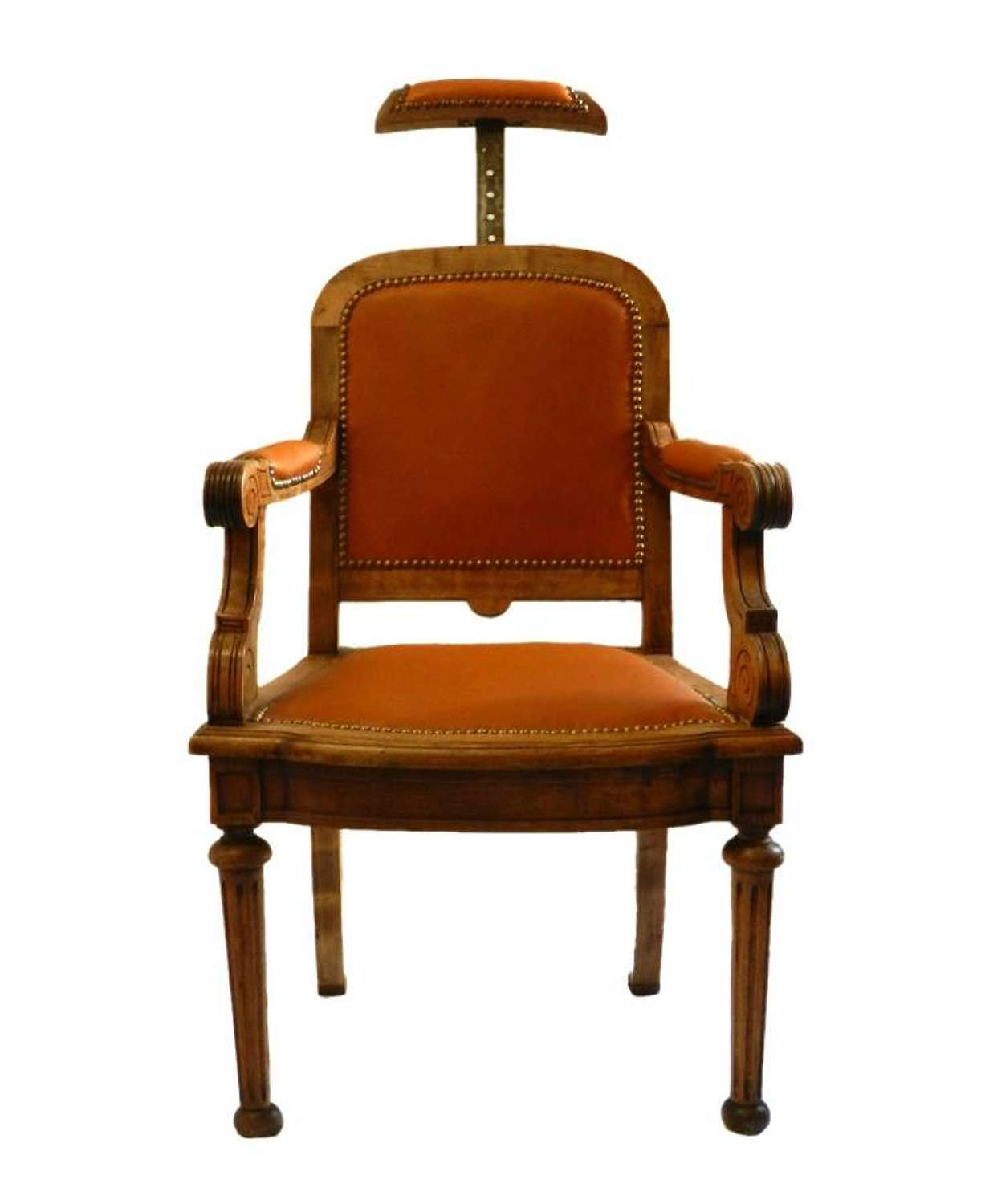 Rare C19 Barbers Chair Leather Desk Chair