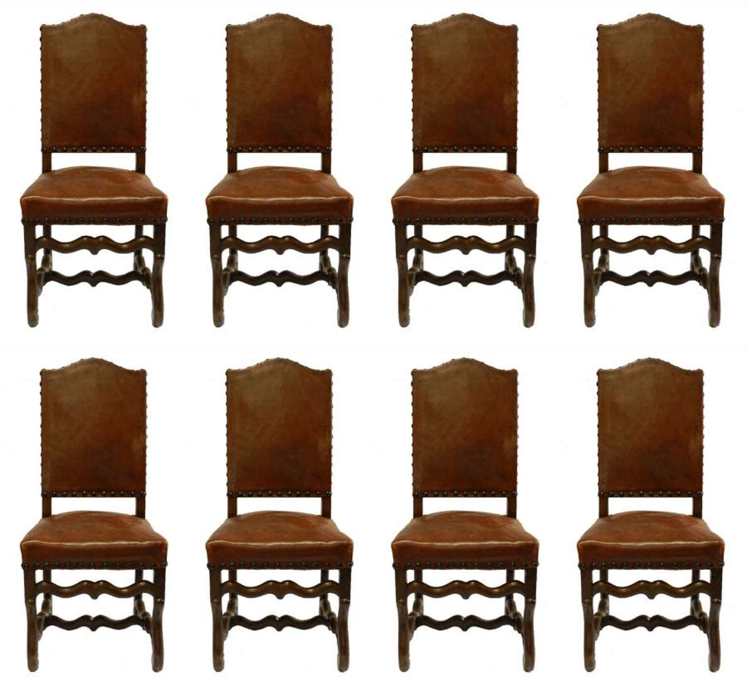 Set 8 Leather Dining Chairs French Os de Mouton