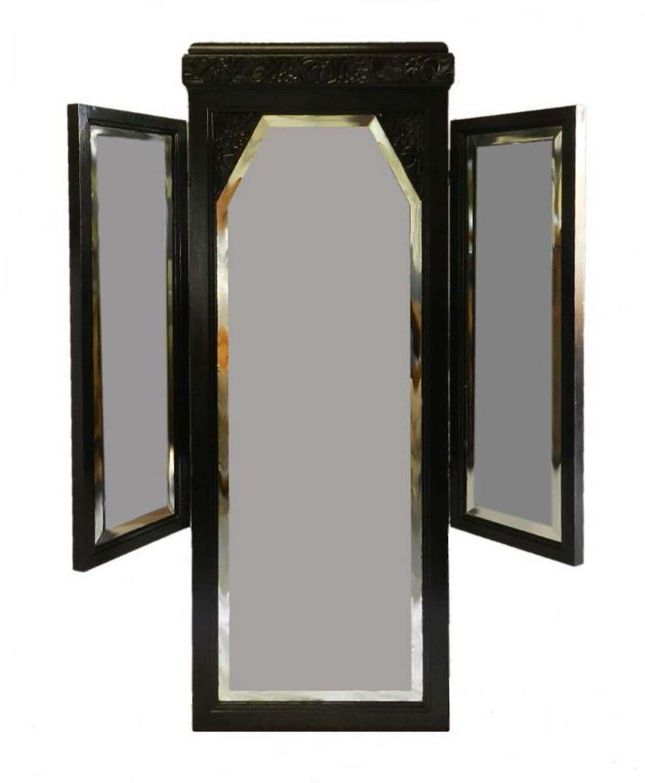French Art Deco Ebonised Triple Mirror Dressing Wall Floor Mirror Folding style of Sue et Mare
